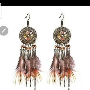 Feathered Disk Earrings